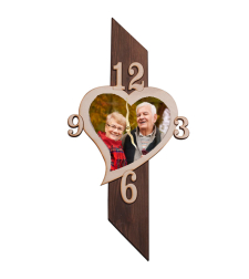 הדפסה על שעון עמוד עץ בצורת לב