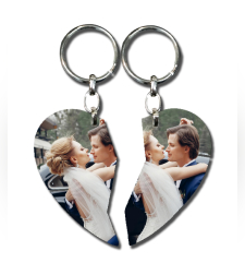 הדפסה על מחזיק מפתחות לב חצוי