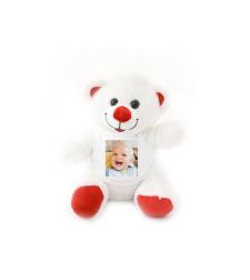 הדפסה על בובת דובי לבן ואדום 20 ס