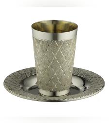 גביע קידוש מהודר ציפוי כסף טהור 925 עם תחתית 8.5 ס