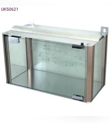 בית חנוכייה מהודר מאלומיניום וזכוכית - פרופילים בגוון נחושת 30X40X20 ס'מ