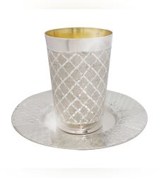 כוס קידוש כסף טהור דגם ריבועים יהלום