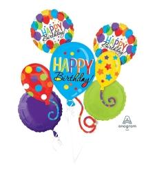 זר בלונים HAPPY BIRTHDAY צבעוני