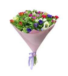 זר פרחים עם כלניות #212