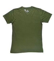 חולצת בייסיק גבר V קצר ירוק זית 966612OLIVES