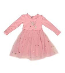 שמלה בנות לייקרה/טול מעוצבת ורוד
