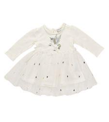 שמלה בנות לייקרה טול מעוצבת לבן