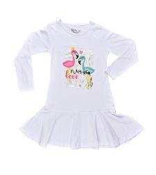 שמלות לייקרה בנות עם הדפס 4-14 7400 לבן