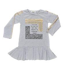 שמלה בנות פרנץ טרי מעוצבת 2-8 אפור