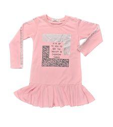 שמלה בנות פרנץ טרי מעוצבת 2-8 ורוד
