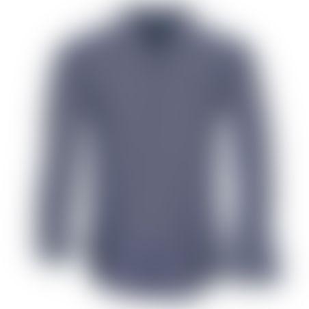 חולצת כפתורים משבצות - נייבי- לבן