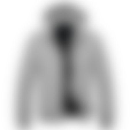 מעיל פרווה קצר- כובע נשלף - אפור בהיר