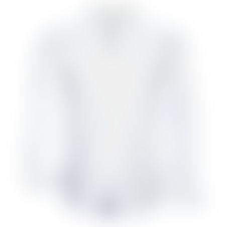 חולצת כפתורים פסים פנימיים בצווארון  - לבן
