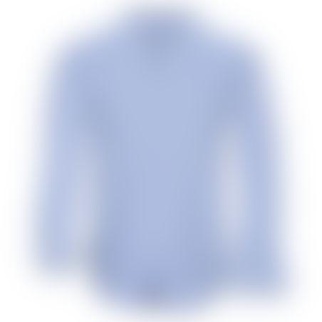 חולצת כפתורים פסים פנימיים בצווארון  - תכלת 1