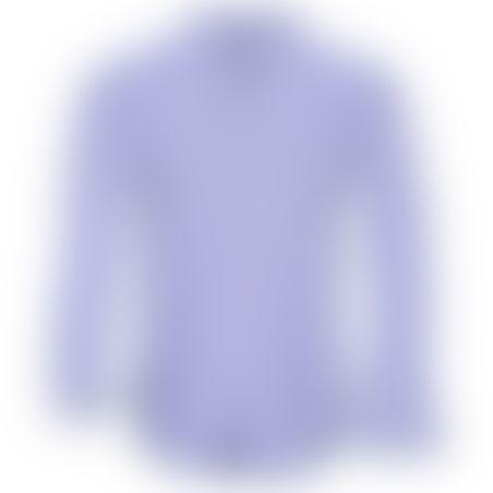חולצת כפתורים משבצות עם פסים פנימיים בצווארון  - תכלת 2