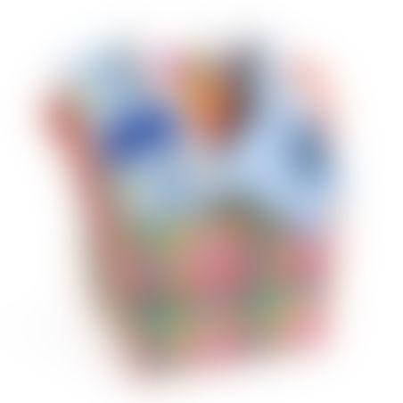 2# - כל אחד ישמח לבן : סל צבעוני קלוע המכיל קוביית סקרנות צבעונית אינטראקטיבית, שלישיית חיתולי טטרה וכובע לתינוק