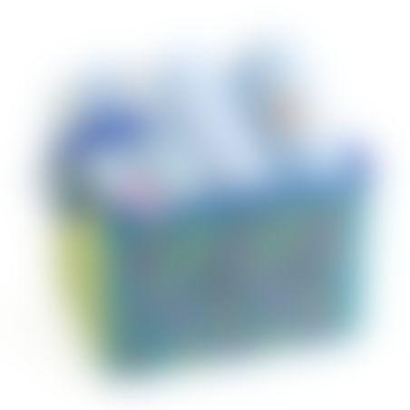 10# - לתינוק המאושר : שמיכה, קפוצ'ון מגבת, שלישיית חיתולי טטרה ורעשן טבעת בקופסת בד לצעצועים
