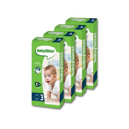 4 חבילות חיתולי BabySitter מידה 3