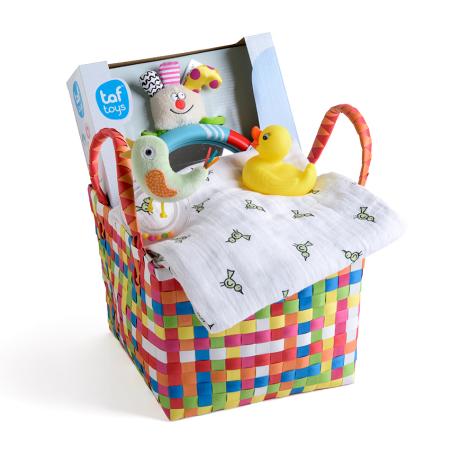 1# -מתנת לידה - אהבה רכה לבת ולבן : סלסילה עם מראה בטיחותית לרכב, כירבולית טטרה רכה ענקית, רעשן טבעת וברווז לאמבט