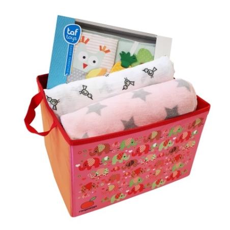 9# - מתנה ליולדת - אושר ענוג לבת : קופסת צעצועים, ספר בד 1-2-3 עם מילוי קשיח, שמיכה רכה, כירבולית טטרה ענקית