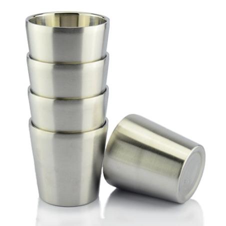 סט4 כוסות דופן כפולה מנירוסטה 180 מ