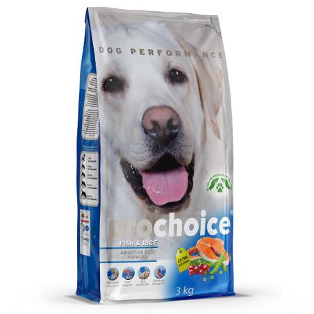 פרוצ'וייס - מזון יבש לכלבים בוגרים, דגים ואורז, 12 קילו - ProChoice
