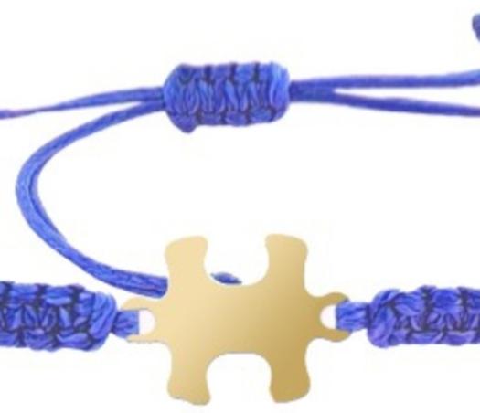 צמיד הפאזל שלנו - כחול, בציפוי זהב