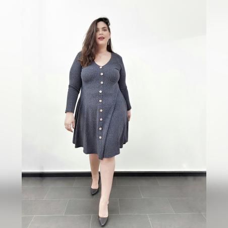 שמלת פעמון כפתורים- כחול