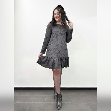 שמלת וולן אפור מקושקש- SALE