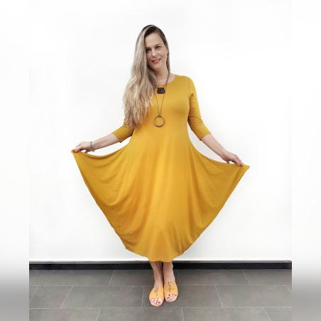 שמלת מעצבות אזניים- חרדל- HOT SALE