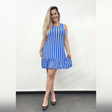 שמלת וולן פסים- כחול לבן- HOT SALE