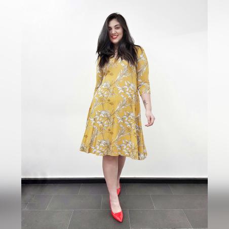שמלת פעמון צהוב פרחוני- HOT SALE