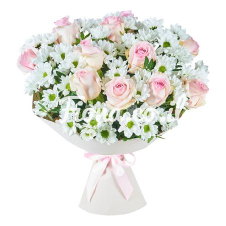 זר ורדים וחרצית לבנה #4
