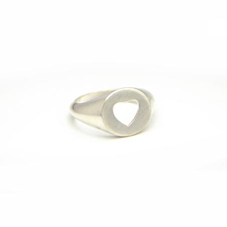 טבעת חותם לב - כסף 925