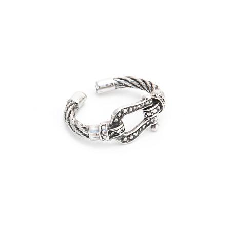 טבעת אבזם - כסף 925 מושחר