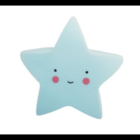 מנורת לילה כוכב - תכלת