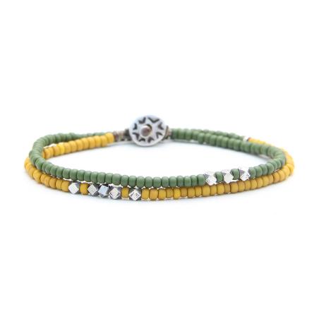 צמיד וולנסיה לגבר - ירוק, צהוב, כסף 925