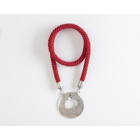 שרשרת יערה | תכשיט תליון לב ופנינה | תכשיט אדום & כסף