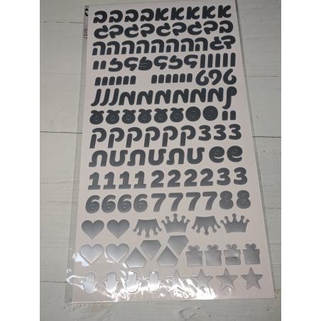 מדבקות אותיות בעברית לבלונים וקופסאות צבע כסף