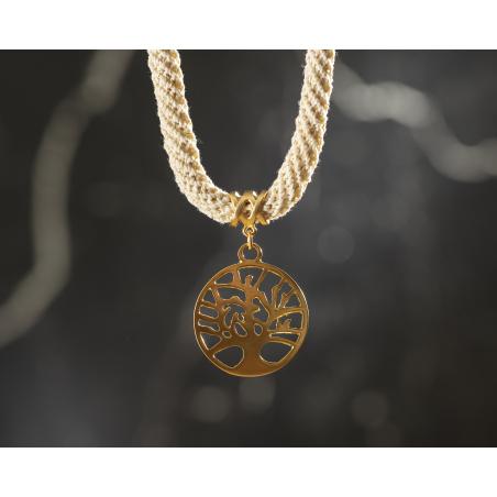 שרשרת לבן שמנת / זהב / עץ החיים - שירה