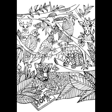 תמונת קנבס לצביעה- ג'ונגל