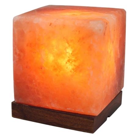 מנורת גביש מלח הימלאיה בצורת קוביה