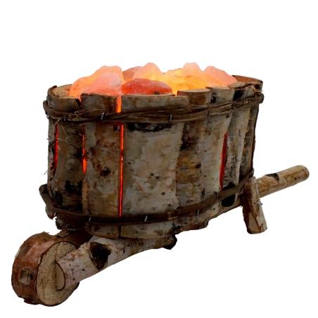 מנורת גבישי מלח הימלאיה במריצת עץ
