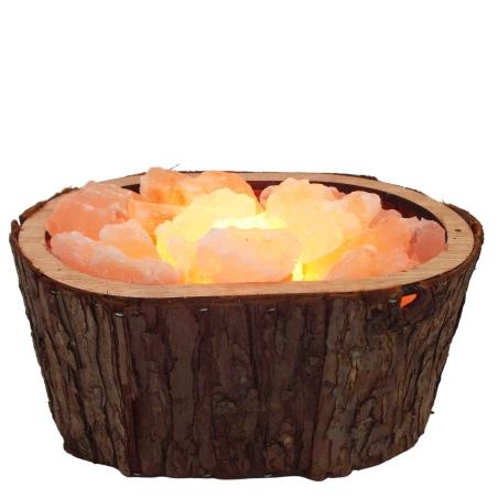 מנורת גבישי מלח הימלאיה בקערה אובאלית מכפיסי עץ בצבע חום