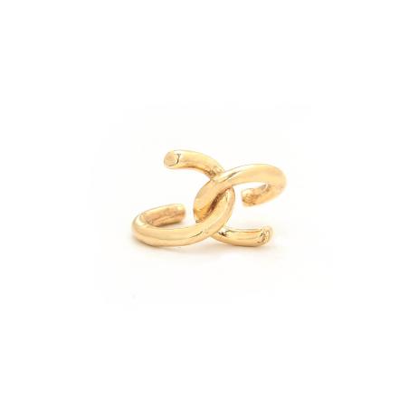 עגיל חבק - כסף 925 בציפוי זהב מיקרוני