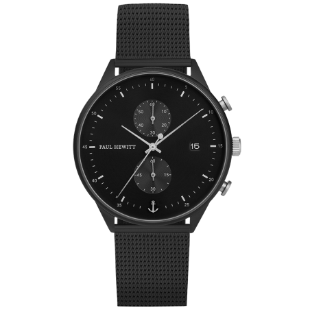 Watch Chrono Black Sunray Black Silver Mesh   PH-C-B-BSS-5M