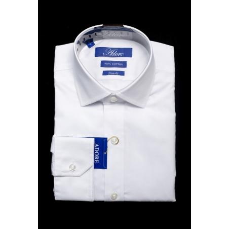 חולצה לבנה תווית כחולה סלים ללא כיס