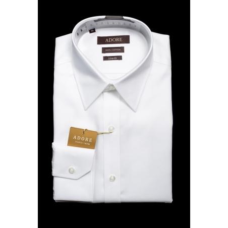 חולצה לבנה אדור תווית חומה גזרה רגילה עם כיס