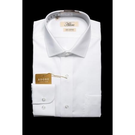 חולצה לבנה אדור תווית בז' גזרה רגילה ללא כיס