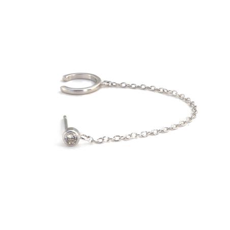 עגיל חבק שרשרת - כסף 925
